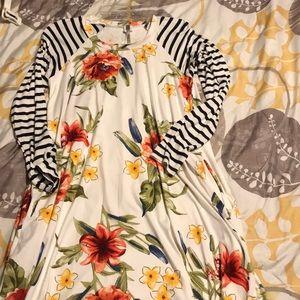 Double-pattern comfy swing dress
